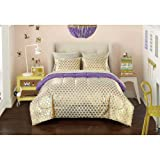 7 Piece Girls Gold Purple Heart Stripes Pattern Comforter Set FULL SIZED, Beautiful All Over Love Hearts Print, Boho Friendly Fun Design, Polka Dots Printed Reversible Bedding, Vibrant Colors For Kids