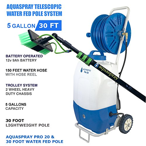 Portable Rolling 5.2 Gallon Water Tank with Pump and Water Fed Pole (TANK + 30 FT POLE) (Best Water Fed Pole System)