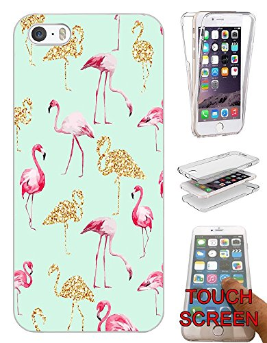 002655 - Collage Flamingo Pink & Gold Design iphone 5C Fashion Trend Silikon Hülle Komplett 360 Degree Protection Flip Schutzhülle Gel Rubber Silicone Hülle