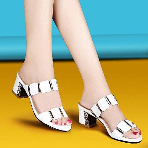 Heart&M Rhinestone de la manera tacón grueso de los deslizadores del alto talón del mollete de tacón sandalias de las mujeres White