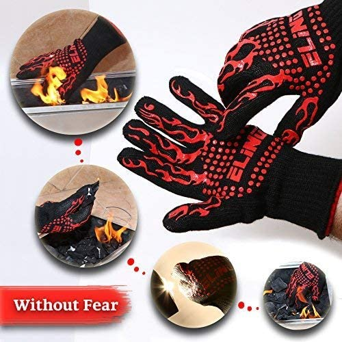 932/°F 30 cm Heat Resistant Gloves for BBQ Glove Grilling Cooking Hot Ovens Gloves Protect Your Hands from Extreme Heat Double Layered Fireplace Gloves Without Fear 100/% Cotton Inner 1 Pair