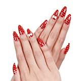 Ejiubas Red Acrylic Nails Christmas Nail Art Bow Tie for Nails Design 24 Pcs 12 Sizes Long Fake Nails with Glue
