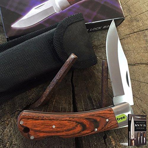 """PakkaWood Fancy Lockback Pocket Folding Knife 4"""" Closed, Sheath 210725 + Free eBook by SURVIVAL STEEL"""