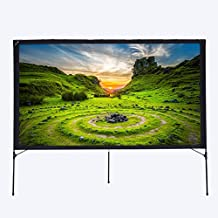 Excelvan 80 Inch Outdoor Front Projector Screen With Setup Stand 16:9 Foldable Portable Transportable Projector Screen for Camping and Recreational Events