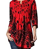 Toimoth Women O Neck Three Quarter Sleeved Printed Loose Tops T-Shirt Blouse (Red,2XL)