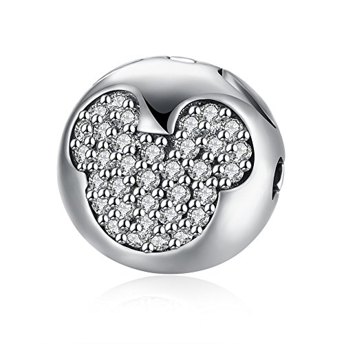 IVYRISE Lovely Mickey Mouse Engraving Shiny Diamonds Round Ball Beads Fine Jewelry Findings ()