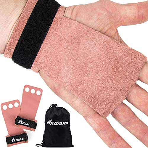 KAYANA 3 Hole Leather Gymnastics Hand Grips - Palm Protection and Wrist Support for Cross Training, Kettlebells, Pull ups, Weightlifting, Chin ups, Workout, Exercise (Pink, X-Small)