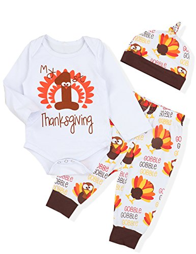 3PCS Newborn Baby Boys Girl Clothes My First Thanksgiving Romper,Cute Turkey Pattern Pants + Hat Onesies Outfit Set(0-3 Months) by Doding