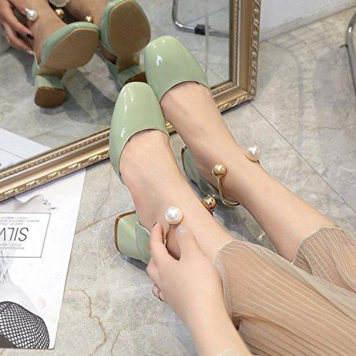 HRCxue Rugueuses et 空 Tête haute talons Pied Bague Perle Light-painted Chaussures en cuir avec une seule femelle. 36 kkkgcmDm