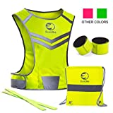 Original Reflective Vest of Unique Design for Running Walking Cycling Jogging Motorcycle + 4 High Visibility Wristbands + Bag (Fluorescent Yellow, Size S/M)