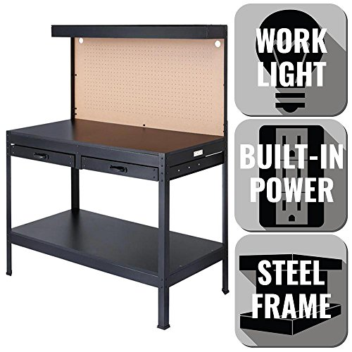 (OLYMPIA 4 ft. W x 5 ft. H x 2 ft. D Black Steel, 3 Convenient Power Outlets, Rugged Steel and Wood Construction Built to Last, Workbench with Built-In Power and Lighting to Illuminate Workspace)