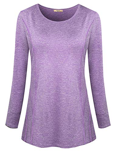 Viracy Long Sleeve Running Shirts Women, Ladies Yoga Tunic Activewear Running Tops Athleisure Wear Workout Shirt Excercise Clothes(Medium, Purple)