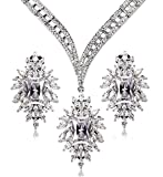 KnSam Women Platinum Plate Round White Necklace Earrings Set Crystal [Novelty Bridal Jewelry Set]