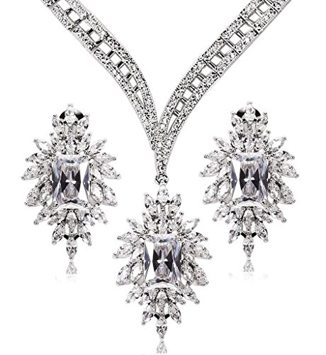 KnSam Women Platinum Plate Round White Necklace Earrings Set Crystal [Novelty Bridal Jewelry Set] by KnSam