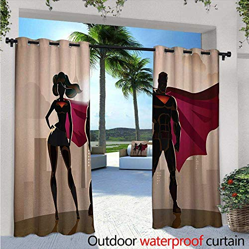 Superhero Indoor/Outdoor Single Panel Print Window Curtain W84 x L84 Super Woman and Man Heroes in City Solving Crime Hot Couple in Costume Silver Grommet Top Drape Beige Brown Magenta -