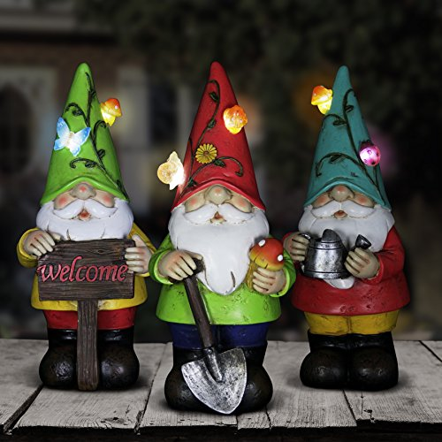 Set Statue - Exhart 3 Pcs. Set Gnome Statues w/Solar Decor Lights - Cute Hand-Painted Gnome Resin Statues Include Green Hat (Welcome Sign), Red Hat (Shovel) & Teal Hat (Watering Cans) 3.5