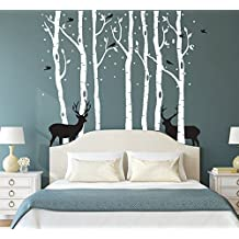 "CaseFan Forest and Deers Tree Wall Stickers Art Mural Wallpaper for Bedroom Kid Baby Nursery Vinyl Removable DIY Decals 82.7x70.9"",White+Black"