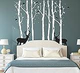 kids bedroom sticker wall murals Fymural Forest and Deers Tree Wall Stickers Art Mural Wallpaper for Bedroom Kid Baby Nursery Vinyl Removable DIY Decals 118.1x102.4,White+Black