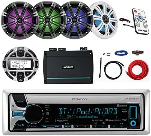 Kenwood Marine CD MP3 USB AUX Bluetooth Receiver, Kicker 6.5 LED Marine Speakers 2 Pairs , Kicker 4-Channel Marine Amplifier, Kenwood Wired Remote, Kicker Marine LED Controller