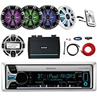 "Kenwood Marine CD/MP3/USB/AUX Bluetooth Receiver, Kicker 6.5"" LED Marine Speakers (2 pairs), Kicker 4-Channel Marine Amplifier, Kenwood Wired Remote, Kicker Marine LED Controller"
