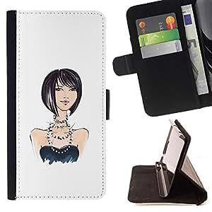 BullDog Case - FOR/Samsung Galaxy S3 Mini I8190Samsung Galaxy S3 Mini I8190 / - / girl pearls design fashion white black /- Monedero de cuero de la PU Llevar cubierta de la caja con el ID Credit Card Slots Flip funda de cuer