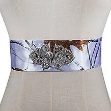 iLovewedding White Camo Wedding Dress Sash Crystal Rhinestone Bridal Sashes Belt DIY