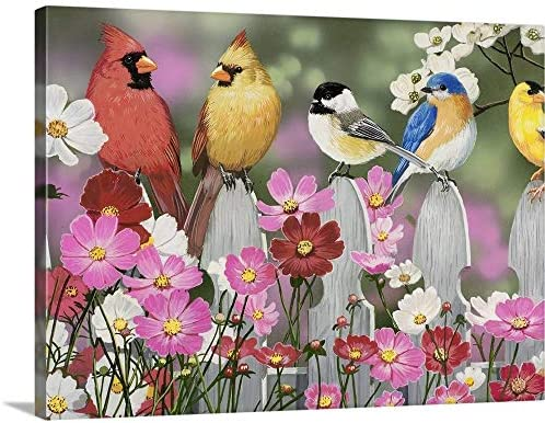 Song Birds and Cosmos Canvas Wall Art Print