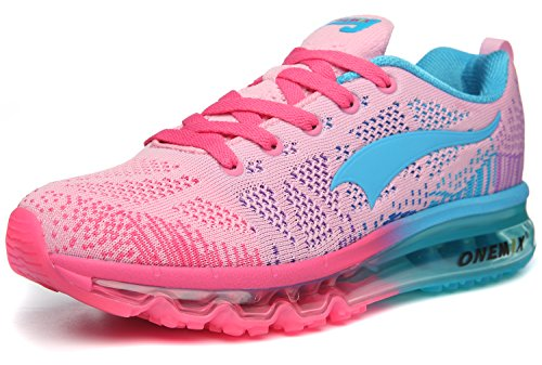 Onemix Womens Air Cushion Outdoor Sport Scarpe Da Corsa Leggero Casual Sneakers Rosa / Blu