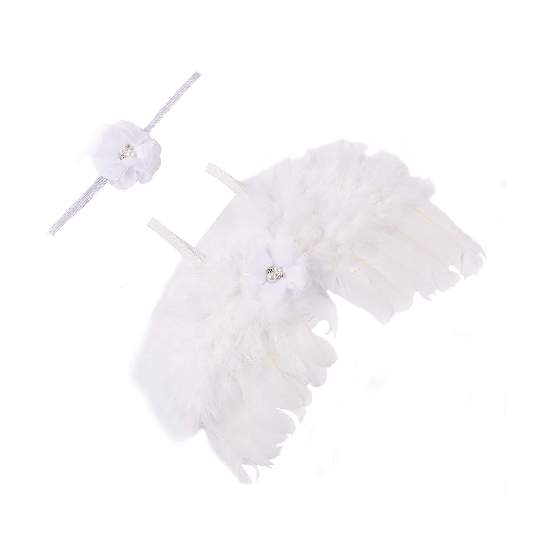 moinkerin Engelsflügel fotoshooting outfit Props, Neugeborene Baby Fotografie requisiten Kostüme mit Haarband weiß