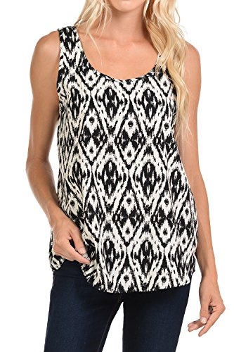 Shamaim Womens Solid & Printed Round Neck Sleeveless Woven Tank Top Blouse Print #5 Small