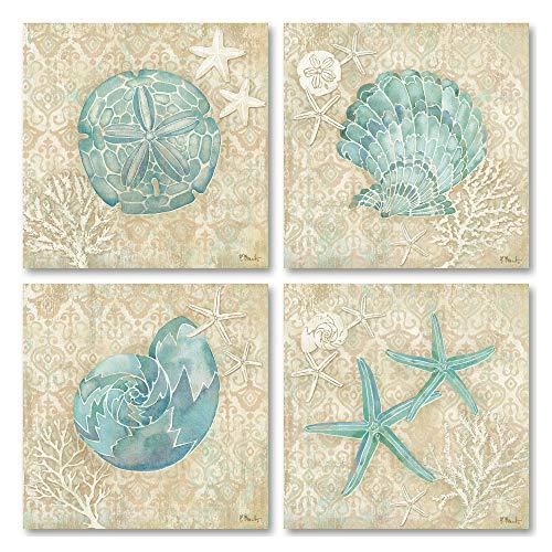 Lovely Watercolor-Style Laguna Seashell, Sand Dollar, and Starfish Ocean Set; Coastal Decor; 4-12x12