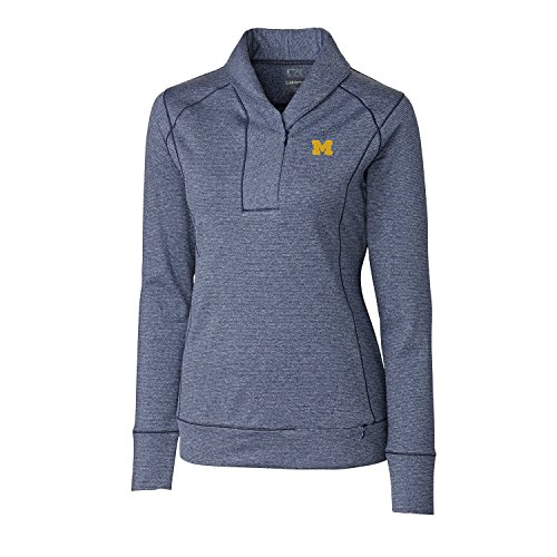 (Cutter & Buck NCAA Michigan Wolverines Women's Shoreline Half Zip Jacket, Small, Liberty Navy Heather)