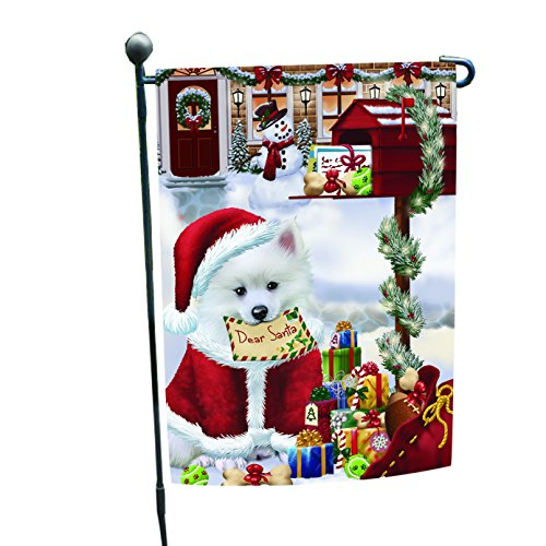 Dear Santa Mailbox Christmas Letter American Eskimo Dog Garden Flag For Sale