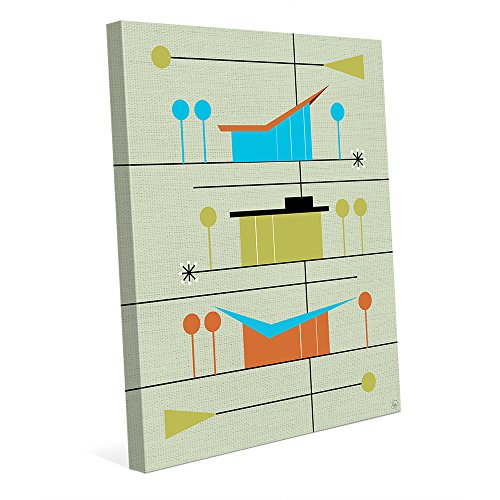 Retro Neighborhood Green: Mid-Century Retro Modern Postmodern Geometric Shapes Abstract Painting Drawing Illustration of Ranch Houses Wall Art Print 51ZR0x7 2Bz4L