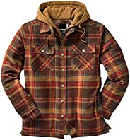 CASILY Men's Plaid Drawstring Hooded Jackets, Flannel Long Sleeve Button Up Quilted Lined Jacket Regular a