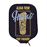YOLIYANA Tiki Bar Decor Durable Racket Cover,Aloha from Hawaii Surf Paradise Retro Style Tiki Statue Print Decorative for Sandbeach,One Size