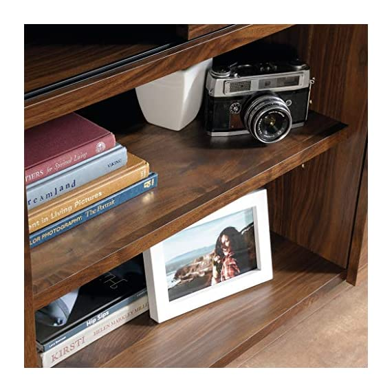 """Sauder Harvey Park TV Stand, For TV's up to 50"""", Grand Walnut finish - Accommodates up to a 50"""" TV weighing 70 lbs. or less for optimal viewing Sliding panel conceals cubbyhole storage to keep your clutter hidden Two adjustable shelves for flexible storage options - tv-stands, living-room-furniture, living-room - 51ZR1Vt4FAL. SS570  -"""