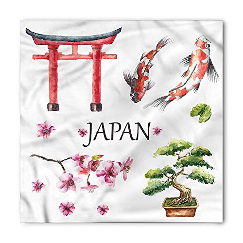Koi Fish Bandana, Tori Gate Bonsai Sketch, Unisex Head and Neck Tie,23.623.6inch