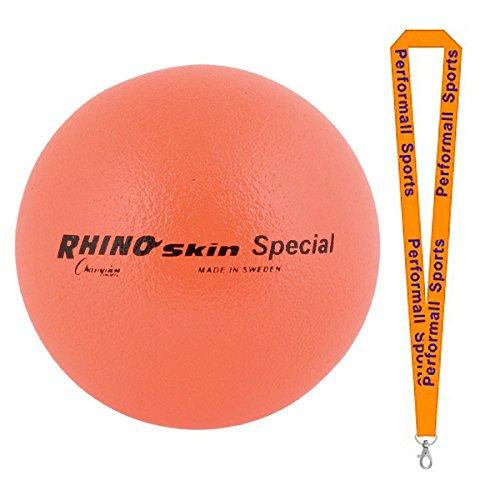Champion Sports Rhino Skin Ball Neon Orange Bundle with 1 Performall Lanyard RS85NOR-1P by Champion Sports