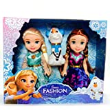 CartCalifornia Anna and Elsa Dolls 3 in 1 Beautiful 7inch Fashion Doll Set with Premium Dresses and Shoes for Kids (Blue)