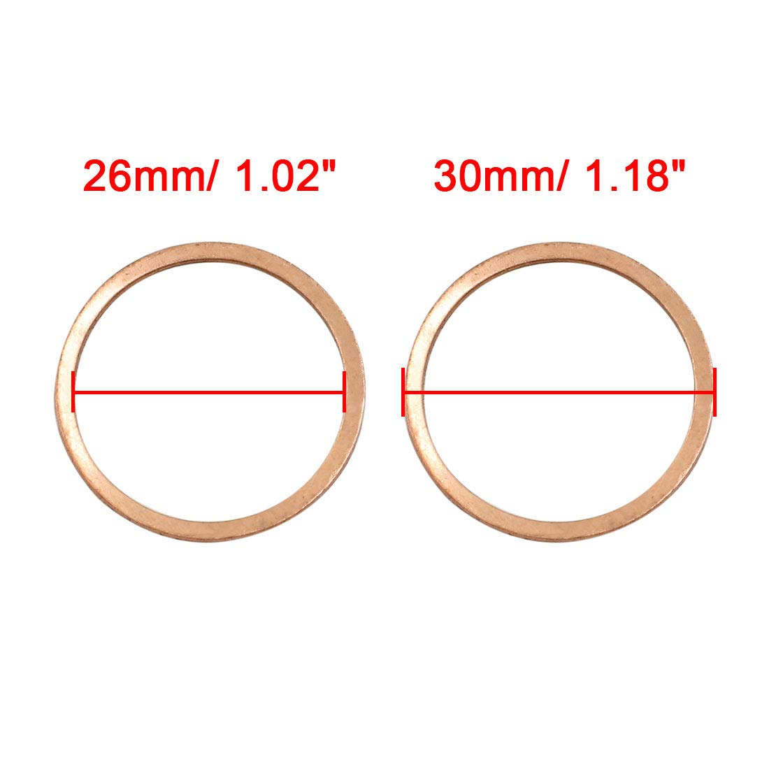 X AUTOHAUX 20pcs 26mm Inner Dia Copper Washers Flat Sealing Gaskets Ring for Car by X AUTOHAUX (Image #3)