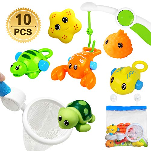 ToyerBee Bath Toys for Toddlers (10 Pack), Educational Squirt Fish Toys with Organizer , Sucker Shelf, Fishing Net, Spray Lobster, Tortoise, Floating Toys,Starfish, Kids Bathtub Toys for 1 2 3 Year