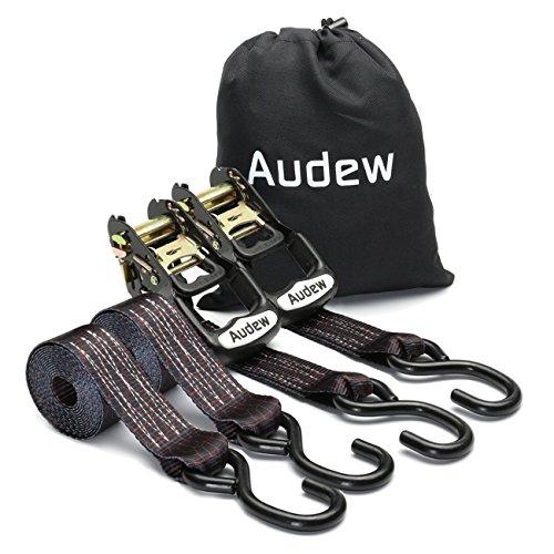 AUDEW Ratchet Tie Down Straps 3800lb Break Strength 9 FT Ratchet Straps Cargo Straps 2 Pack, Heavy Duty Ratcheting Tiedowns by Audew