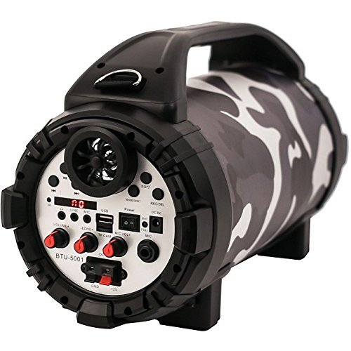 Blackmore BTU-5001 Urban Camo Portable, Rechargeable, 2way, PA -Music Player with Bluetooth connectivity, built in Mp3 player and LED illumination