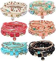 Udalyn 6 Sets Bohemian Stackable Bead Bracelets for Women Men Multilayered Bracelet Set Pendant Charm Stretch