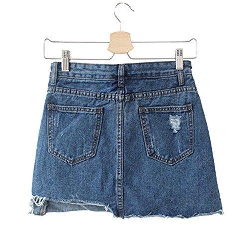 Skirt Corte Bordi Eleganti Strappati Classica Casual Gonna 2017 Tinta Jothin Unita Corea Vita Denim Alta Kilt Irregolare Fantasia Donna Aqc7O