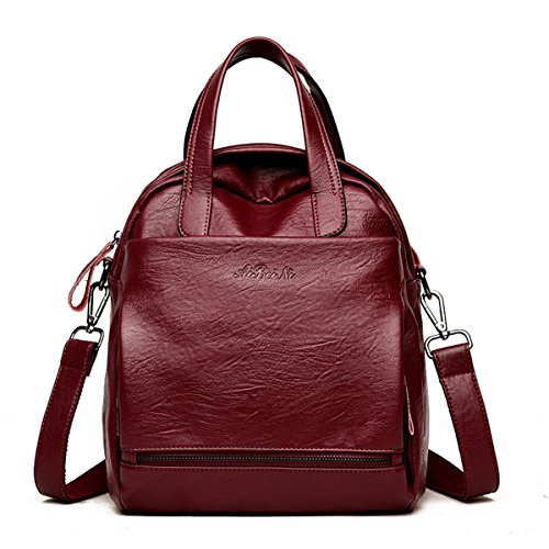 Women Leather Handbags, Charminer Multi Function Backpack Bags Fashion Retro Shoulder Tote Large Capacity Bags red large (Leather Retro Tote)