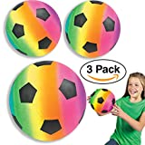 "Large Soccer Balls 9 "" Inflatable Neon Rainbow (3 Pack) Kids Party Favors, goodie bags/giveaways"