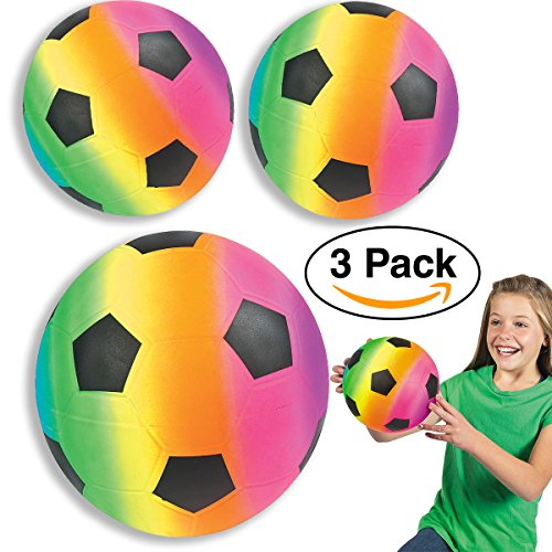 """Rainbow Soccer Ball - Large Soccer Balls 9 """" Inflatable Neon Rainbow (3 Pack) Kids Party Favors, goodie bags/giveaways"""