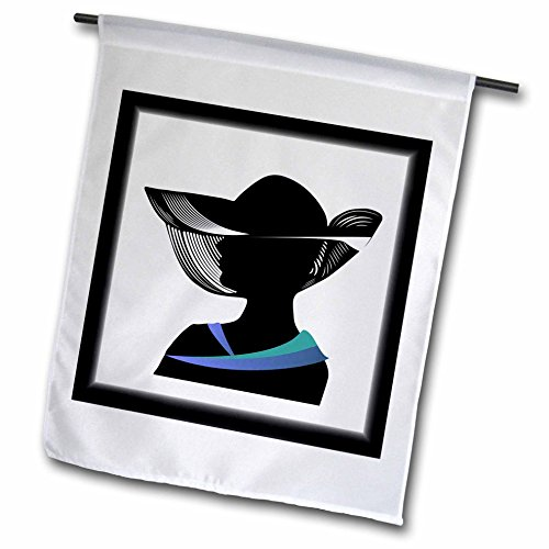 3dRose Art Deco - Image of Silhouette Of Lady IN Hat In Black With Blue Collar - 12 x 18 inch Garden Flag (Art Deco Silhouette)